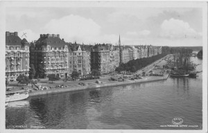 "The American Legation offices, including OSS Stockholm, were located on the fashionable street named Strandvägen, translated ""beach road."""