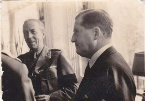 Count Bernadotte with the American Minister Herschel Johnson, Stockholm 1944. From the wartime scrapbook of Herman F. Allen