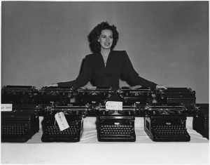 Taking time off between the shooting of scenes at the RKO Studios in Hollywood, Miss O'Hara helped collect more than 70 typewriters for future use by the Army, Navy, and Marines. (This media is available in the holdings of the National Archives and Records Administration)